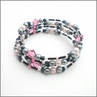 Grey and pink crystal memory wire bracelet