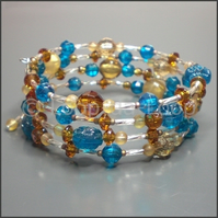 Amber and teal memory bracelet