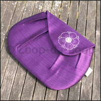 Purple embroidered clutch bag