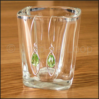 SALE - Sterling Silver framed peridot earrings