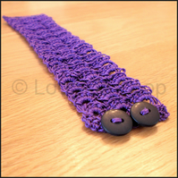 Purple crochet bracelet cuff