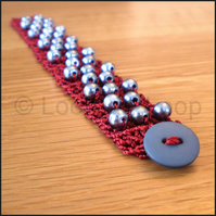Burgundy beaded crochet bracelet