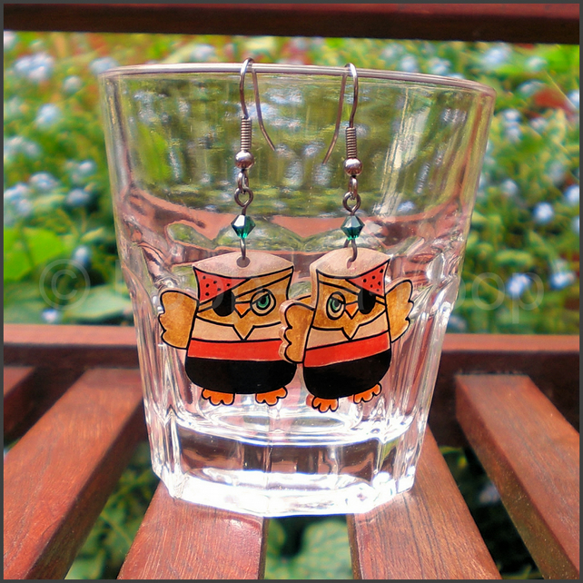 Pirate owl earrings