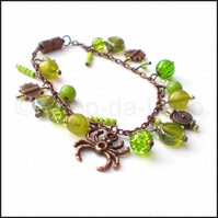 Olive and lime copper chain bracelet