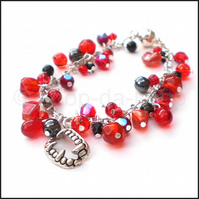 Red and silver chain bracelet