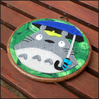 Totoro inspired embroidery hoop