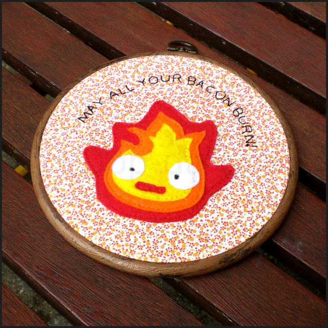 Calcifer inspired embroidery hoop