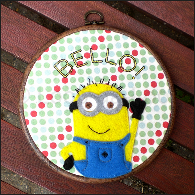 Minion inspired embroidery hoop
