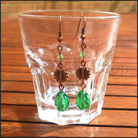 Antique copper and green drop earrings