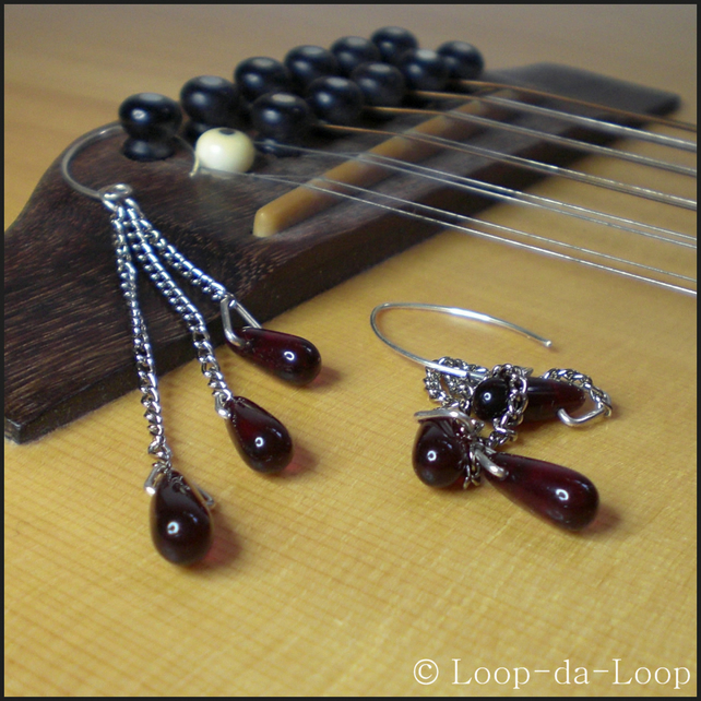 SALE - Long dark red drop silver earrings