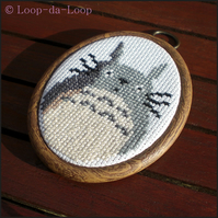 Totoro inspired mini cross stitch