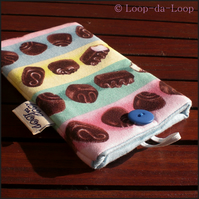 Stripey chocolates mobile pouch (small)