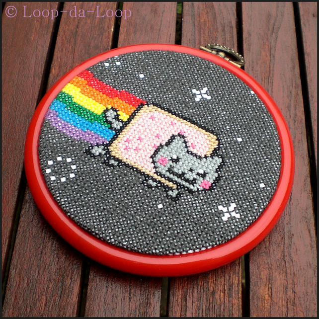 Nyan cat inspired mini cross stitch