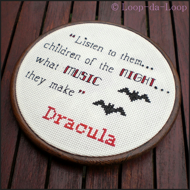 Dracula inspired cross stitch