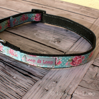 Shabby chic roses dog collar