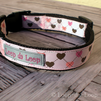 Pink argyle heart dog collar
