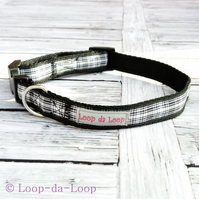 Black and white tartan dog collar