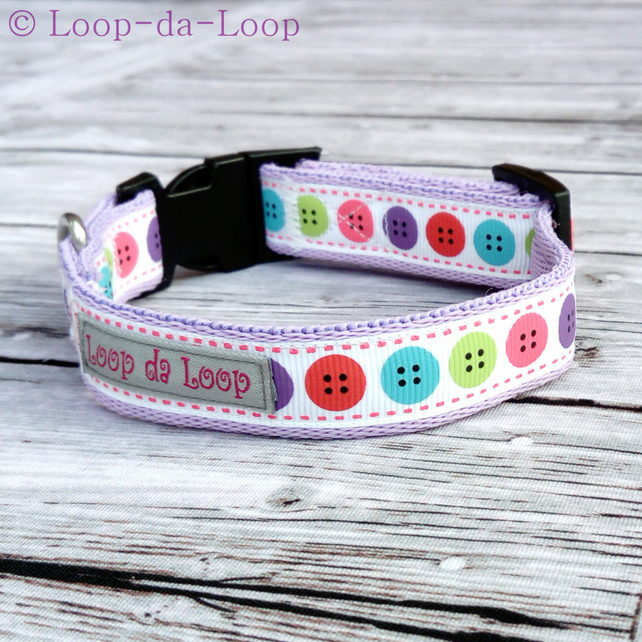 Colourful buttons dog collar