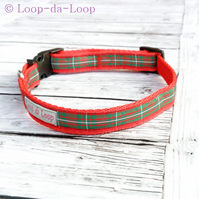 Red and green tartan dog collar