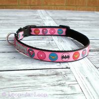 Pink superhero dog collar