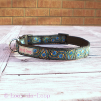 Peacock feather dog collar