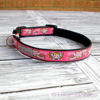 Pink skull tattoo dog collar