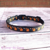 Halloween haunted houses dog collar