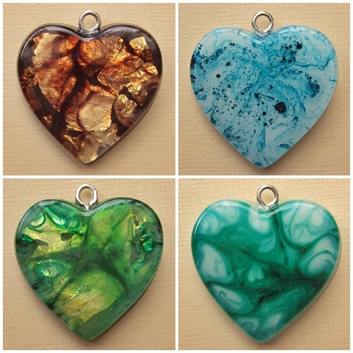 handmade resin hearts