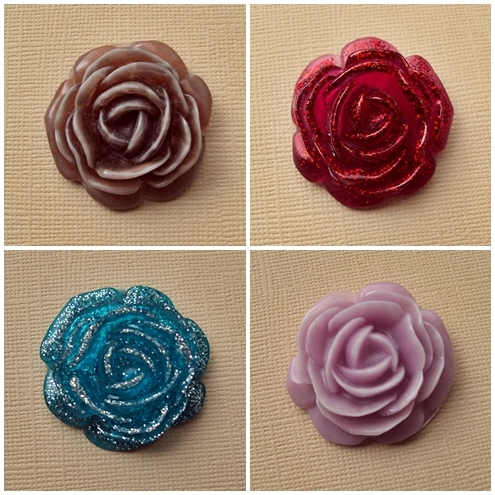 handmade resin rose/flower with hidden loop on back