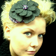 Reduced!! Gray felt fascinator with machine embroidered flower