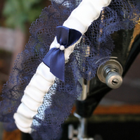 Navy lace bridal garter