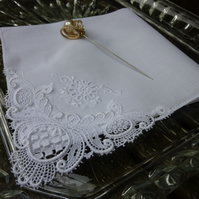Vintage ladies wedding hankie, with lacey corner... can be personalised  with name and wedding date.