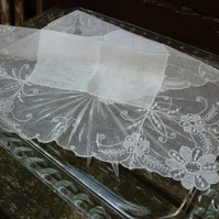 """Something Old"" Bridal hankie, with deep lace edge... can be personalised  with name and wedding date."