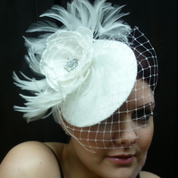 Reduced! Bridal ivory silk fascinator with handmade rose & birdcage veil.