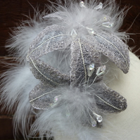 Gray  fascinator with handmade flowers