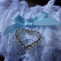 White Vintage Lace Wedding Garter with Diamante heart and Blue Bow