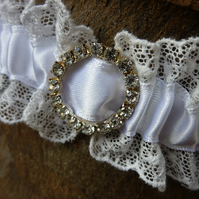 Vintage Lace Wedding Garter with diamante buckle - size:Large