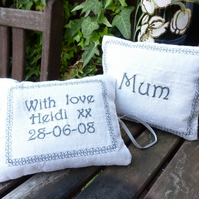 Personalised Embroidered Silk Lavender Bag