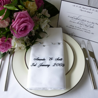 Personalised Embroidered Wedding Napkins