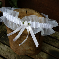 White Organza Wedding Garter - size:Large