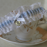 Vintage Lace Bridal Garter with blue embroidery