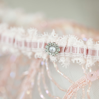 Vintage pink lace bridal garter... can have personalised message inside