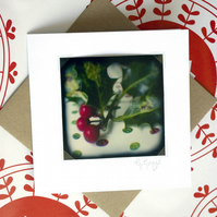 Photo Christmas card: Holly berries. 100% recycled card stock.