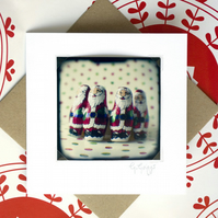 Christmas card: Chocolate santas signed photo print mounted on a blank card
