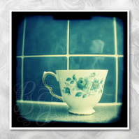 Time for tea: photo print of blue vintage teacup. 5x5 inch Kitchen wall art