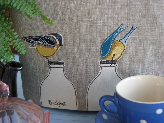 Beautiful Tea Cosy Decorated Cheeky Blue Tits titled 'Breakfast'