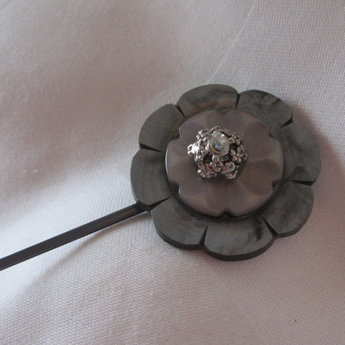 Silver Grey Rose Bobby  Hair Pin