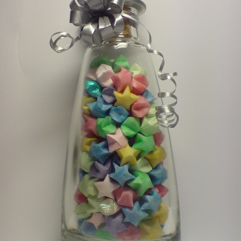 Origami stars in glass bottle with cork stopper kitsch