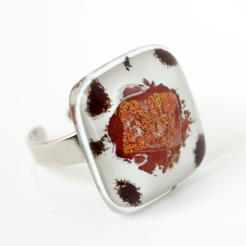 Ring 'Lava' - Unique Fused Glass Jewellery