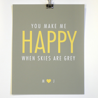 You Make Me Happy - Personalised Art Print - Medium Size (30 x 40cm)